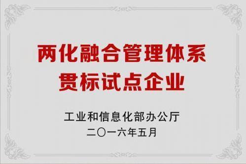 永利澳门娱乐场网站两化融合管理体系贯标试点企业