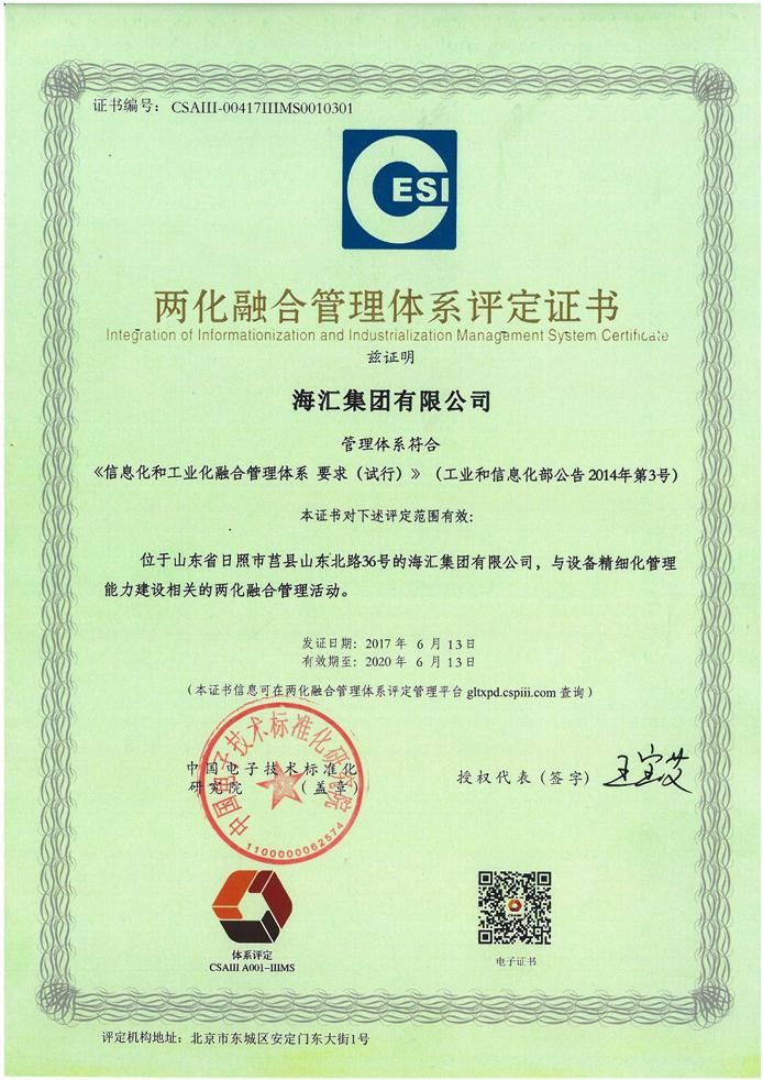 888真人官方网站顺利通过国家工信部两化融合管理体系贯标评定,工信部为其签发国家级两化融合管理体系认证证书。888真人官方网站成为我市首家通过国家级两化融合管理体系认证的企业。