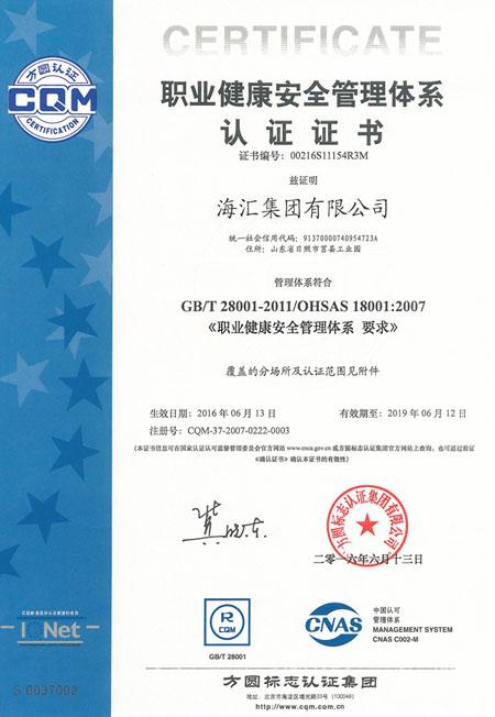 888真人官方网站职业健康安全体系