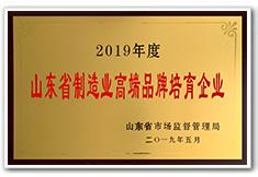 9778818威尼斯官网,威尼斯官方网站,2019年度山东省制造业高端品牌培育企业